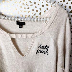 NWOT Torrid Hell Yeah Cutout Sweater